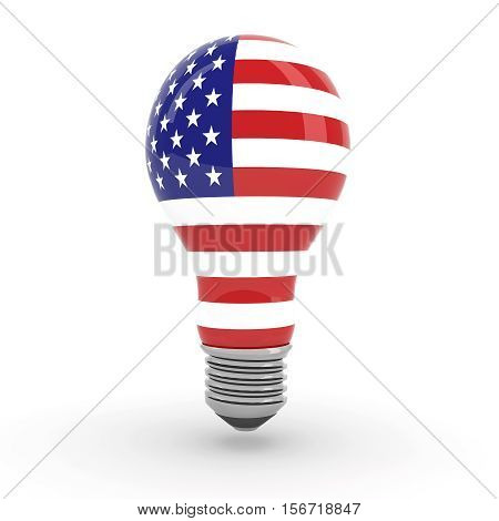 Light Bulb With American Flag