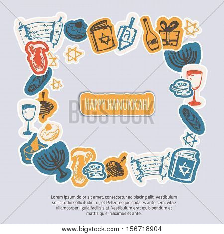 Happy Hanukkah greeting frame with hand drawn elements and lettering on gray background. Menorah, Dreidel, candle, hebrew star for your design