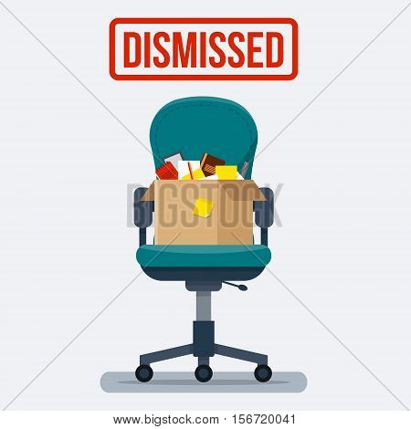 Business chair with box with office things. Dismissed. Fired from job. Flat style vector illustration.