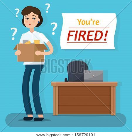 Dismissed woman. Fired from job. Box with office things. Flat style vector illustration.