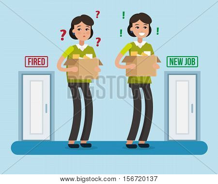 Dismissed woman. Fired from job. New job. Box with office things. Flat style vector illustration.