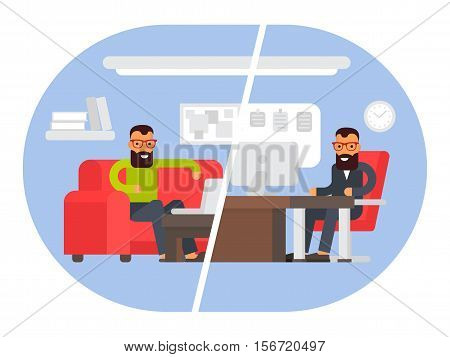 Freelancer vs business office worker. Comparing remote work with freelance working place. Businessman at work. Flat design vector illustration.