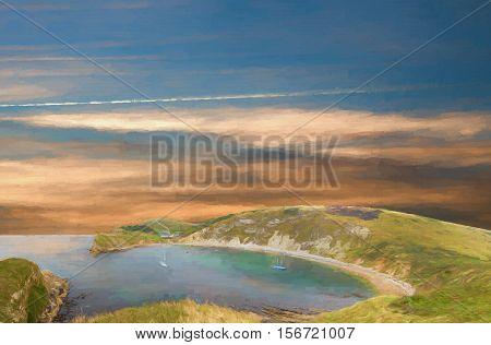 Painting of Lulworth Cove on the Jurassic coast in DorsetUK.
