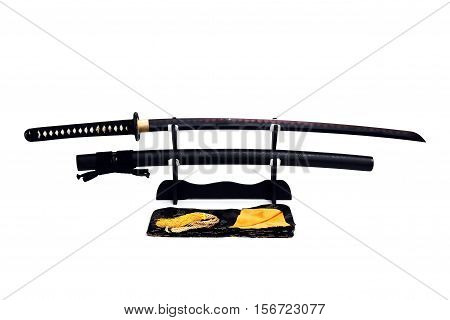Katana Japanese sword on black stand white background