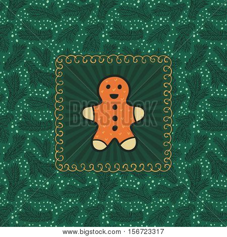 Christmas and New Year vintage ornate frame with Gingerbread Man symbol. Doodle illustration greeting card. Fir tree branch background.