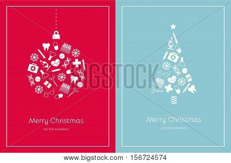Two Christmas cards on a red and light blue background. White medical icons. Vector elements for New Year