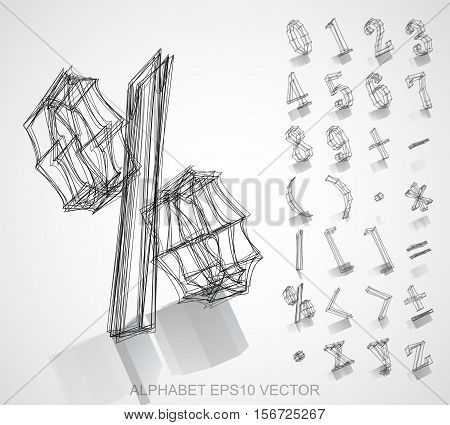 Abstract illustration of a Ink sketched Numbers And Mathematical Symbols with Reflection. Set of hand drawn 3D Numbers And Mathematical Symbols for your design. EPS 10 vector illustration.