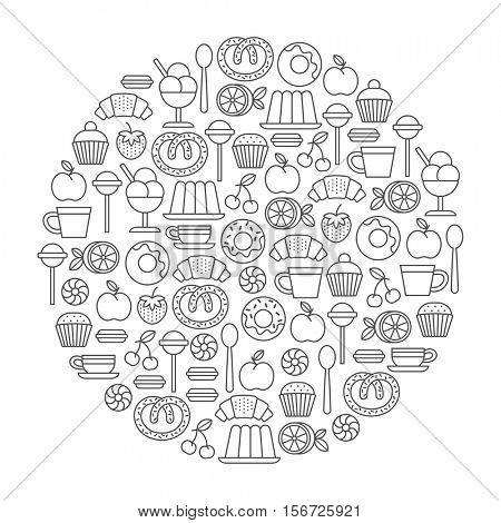 round design element with sweets and desserts icons