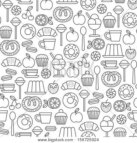 seamless pattern with sweets and desserts icons