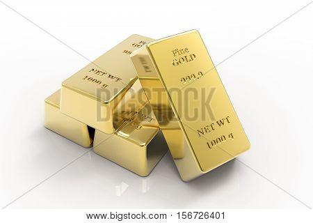 3d gold bullion, gold bars on a white background