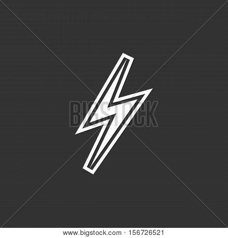 Thunder icon. Logo isolated on black background. Vector illustration