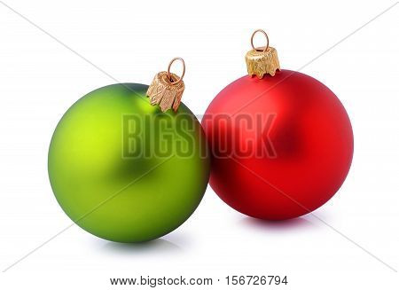 Two Red And Green Christmas Balls