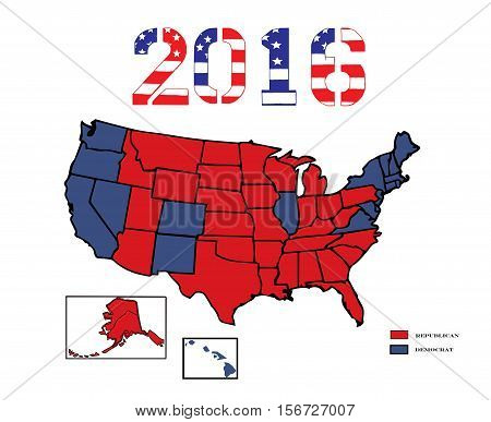50 United States colored in Republican Red, Democrat Blue  for the general Presidential election of 2016.