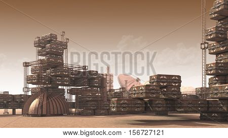 3D Illustration of a scientific settlement on an arid red planet with architectural structures, research crates and communication satellite dishes for planetary and space exploration backgrounds.