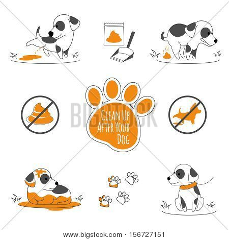 Dog pooping information. Clean up after your pets, vector illustration