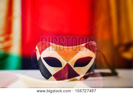 Carnival Mask On Colorful Background