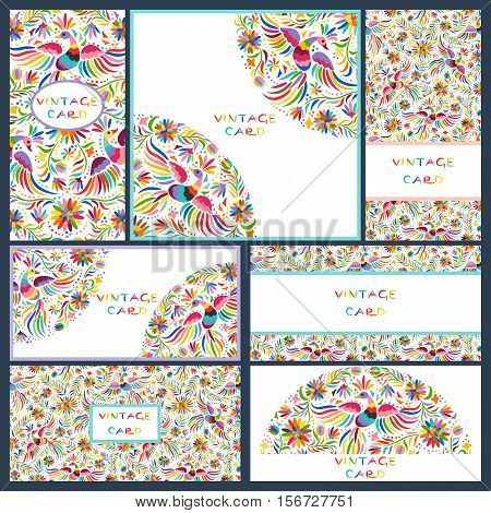 Vector set of artistic creative business cards with Floral Mexican embroidery pattern and ornaments. Hand Drawn textures. Applicable for wedding, anniversary, birthday, Valentine day, party. Design for covers, banner, poster, card, invitation, placard, fl