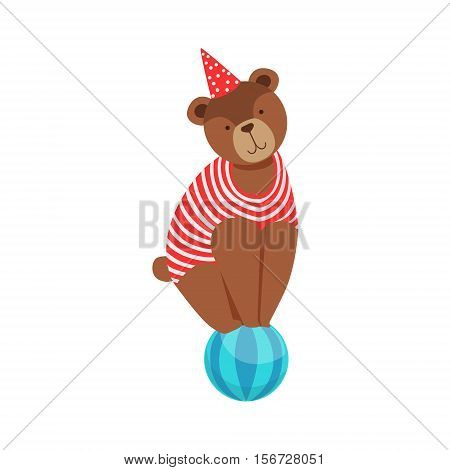 Circus Bear Animal Artist In Stripy Body Suit Performing Acrobatic Balancing On The Ball Stunt For The Circus Show. Colorful Cartoon Illustration From The Collection Of Entertainment Performers And Circus Arena Vector Drawings