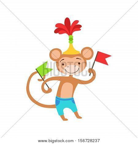 Circus Trained Monkey Animal Artist Performing A Dance With Flags For The Circus Show. Colorful Cartoon Illustration From The Collection Of Entertainment Performers And Circus Arena Vector Drawings