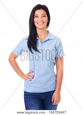 Smiling Woman In Blue Polo Shirt On A White Background