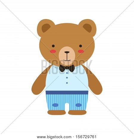 Brown Bear In Bow Tie, Blue Pants And White Top Cute Toy Baby Animal Dressed As Little Boy. Adorable Standing Humanized Fauna Character Collection Flat Vector Illustration.