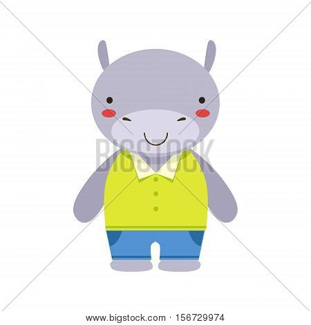 Smiling Hippo In Yellow Top And Blue Pants Cute Toy Baby Animal Dressed As Little Boy. Part Of Adorable Standing Humanized Fauna Characters Collection Flat Vector Illustration.