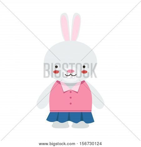 Rabbit In Blue Skirt And Pink Top Cute Toy Baby Animal Dressed As Little Girl. Part Of Adorable Standing Humanized Fauna Characters Collection Flat Vector Illustration.