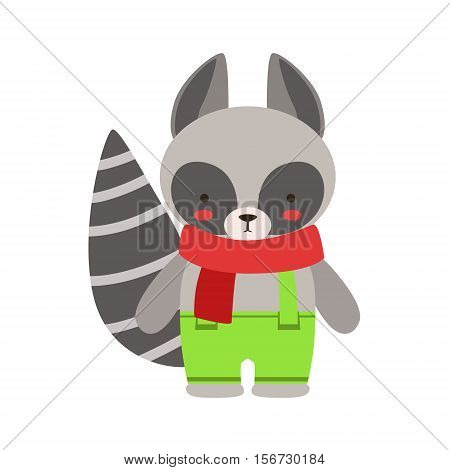 Raccoon In Red Scarf And Green Pants Cute Toy Baby Animal Dressed As Little Boy. Part Of Adorable Standing Humanized Fauna Characters Collection Flat Vector Illustration.