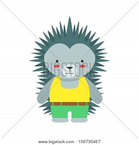 Hedgehog In Yellow Top And Green Pants Cute Toy Baby Animal Dressed As Little Boy. Part Of Adorable Standing Humanized Fauna Characters Collection Flat Vector Illustration.