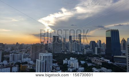 BANGKOK, THAILAND - NOV 14, 2016 : Cityscape before sunset in winter, Sathorn, Bangkok, Thailand. Bangkok cityscape view at twilight.
