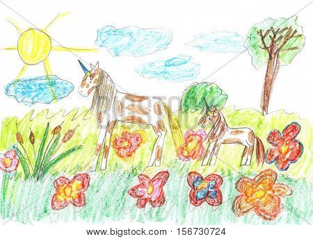 Children's drawing of a fairy tale unicorns grazing on the meadow
