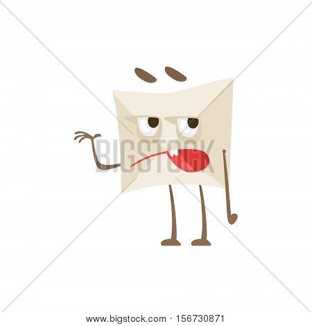 Grumpy Humanized Letter Paper Envelop Cartoon Character Emoji Illustration. Part Of Mail Cover Funny Character With Arms And Legs Emotional Facial Expression Vector Collection