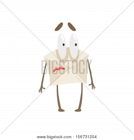 Frightened Humanized Letter Paper Envelop Cartoon Character Emoji Illustration. Part Of Mail Cover Funny Character With Arms And Legs Emotional Facial Expression Vector Collection