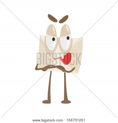 Told You So Humanized Letter Paper Envelop Cartoon Character Emoji Illustration. Part Of Mail Cover Funny Character With Arms And Legs Emotional Facial Expression Vector Collection