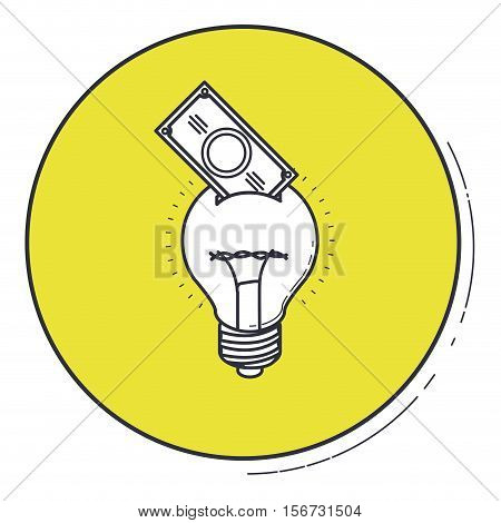 Light bulb and bill draw icon. Energy power technology and electricity theme. Isolated design. Vector illustration