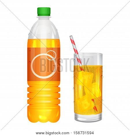 Glass of soda with ice cubes and soda in bottle. Vector illustration