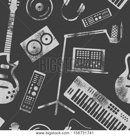 Vector music production seamless pattern. Speaker laptop headphones microphone amplifier plate synthesizer electric guitar.