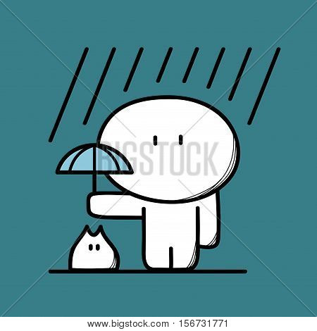 Cute man takes care of pet with umbrella under the heavy rain on the blue background. Friendship and kindness - cartoon vector illustration.