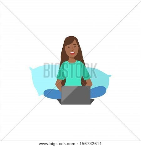 Happy Girl In Pajamas Sitting With Her Legs Crossed On The Bed With Lap Top, Part Of Women Different Lifestyles Collection. Smiling Woman Enjoying Her Every Day Life Colorful Cartoon Vector Illustration.