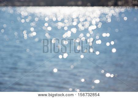 Solar glares on water. Soft blurred photos.