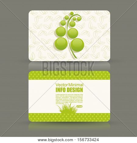 Card set eco design organic foods shop or vegan cafe business card with green foliage.