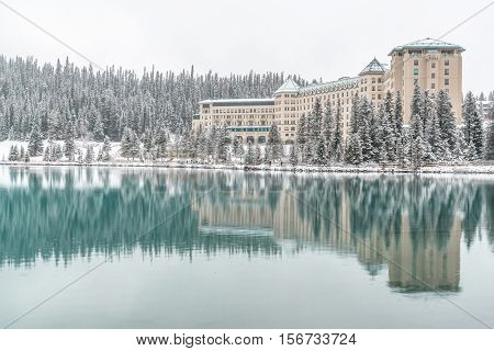 Winter reflection over Lake Louise Banff National Park Alberta Canada
