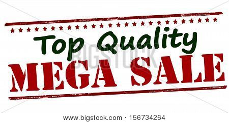 Rubber stamp with text top quality mega sale inside vector illustration