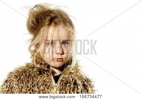 Surprised Disheveled Preschooler Girl With Long Hair