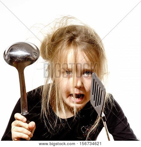Disheveled Preschooler Girl With Soup Ladle