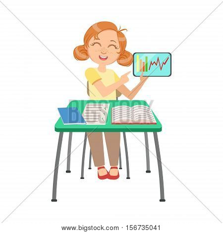 Schoolgirl Sitting Behind The Desk In School Class Showing Chart On Screen Of The Tablet Illustration, Part Of Scholars Studying Vector Collection. Happy Teenage Student In Uniform Having Good Time At Studies.