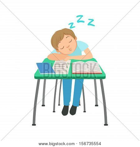 Schoolboy Sitting Behind The Desk In School Class Sleeping On Notebooks Illustration, Part Of Scholars Studying Vector Collection. Happy Teenage Student In Uniform Having Good Time At Studies.