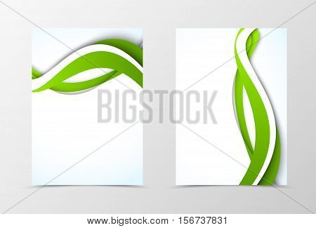 Front and back dynamic flyer template design. Abstract template with green curve lines in wavy style. Vector illustration