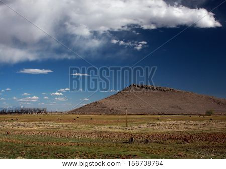 Butte rises from the Rio Grande Valley near Alamosa, Colorado as puffy clouds form above in springtime.