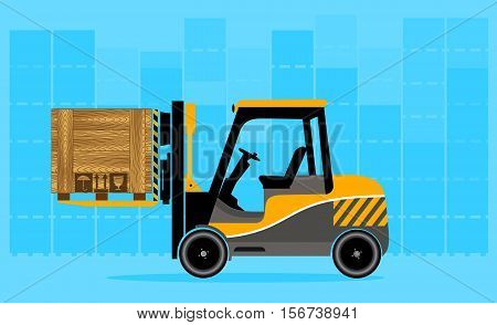 On the image presented Loader with a container. Logistics and delivery